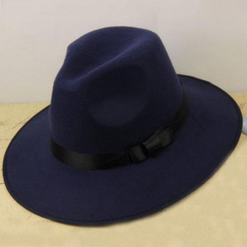 6a603f67a0421 Los hombres de las mujeres de ala ancha sombrero Fedora con cinta ...