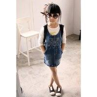 BuDingXiong 2018 Bahar Çocuklar Kızlar Genel Elbiseler Kore Moda Kız Denim Kısa Elbise Yaz Kızlar Mini Elbise Çocuk Giyim