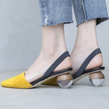 Buyuanqingyun Womens Sandals Fashion Design Slingback Ankle Wrap Pumps Wooden heel Shoes Women