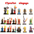 17 pçs/lote compatível legoes ninjagoes diy figuras com armas ninja lloyd cole jay kai zane nya building blocks crianças brinquedo presente