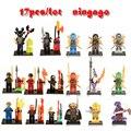 17 unids/lote compatible legoes ninjagoes diy figuras con armas ninjas lloyd cole jay kai zane nya bloques de construcción para niños juguete regalo