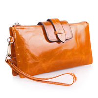 2015 New Ladies Cowhide Leather Wallet Long Women Large Multifunctional Wallet Chain Bag Card Holder Coin