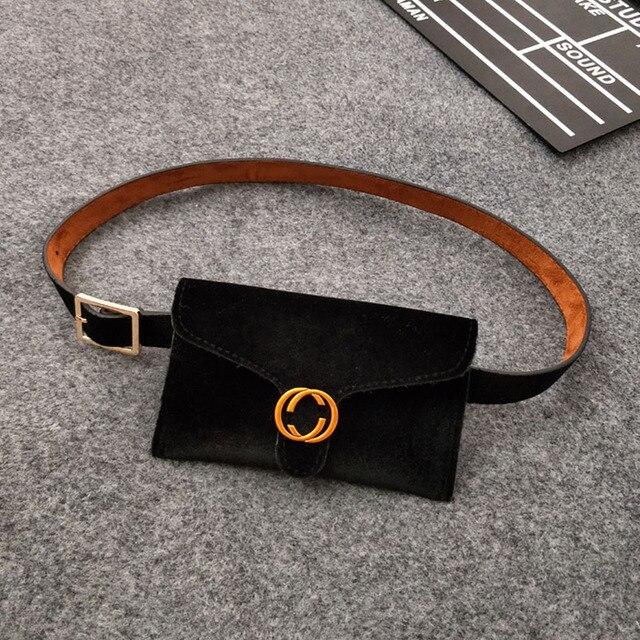 2018 New Velvet Money Belt Bag Women Waist BagLeather Fashion Women Waistbag Bum Bag Belt Female Fanny Pack for Women Waistbelt