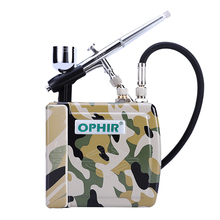 OPHIR Portable 12V DC Golden Mini Air Compressor 0.3mm Airbrush Kit for Makeup Beauty Cake_AC003G+AC004A+AC011