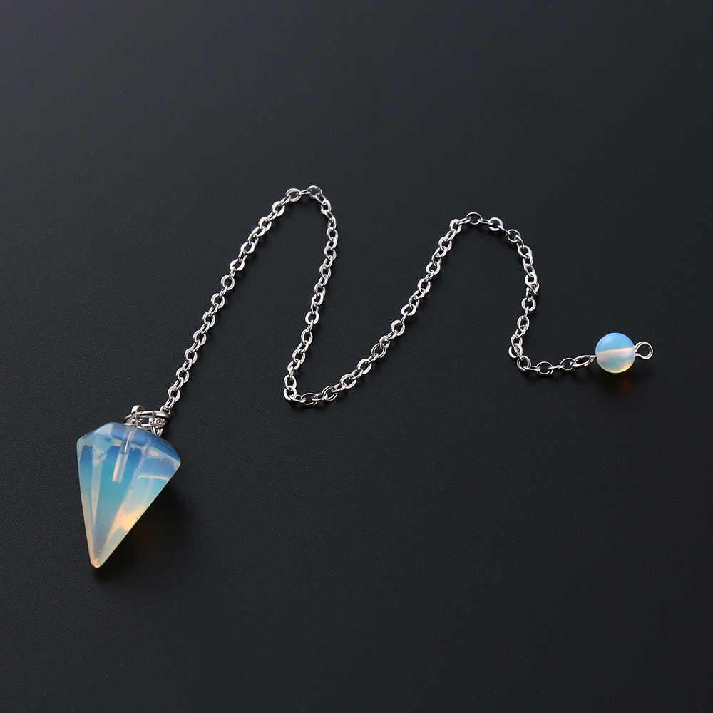 ขนาดเล็กขนาด Reiki ลูกตุ้มหินธรรมชาติ Amulet Healing คริสตัลจี้สมาธิหกเหลี่ยมลูกตุ้มสำหรับผู้ชายผู้หญิงเครื่องประดับ