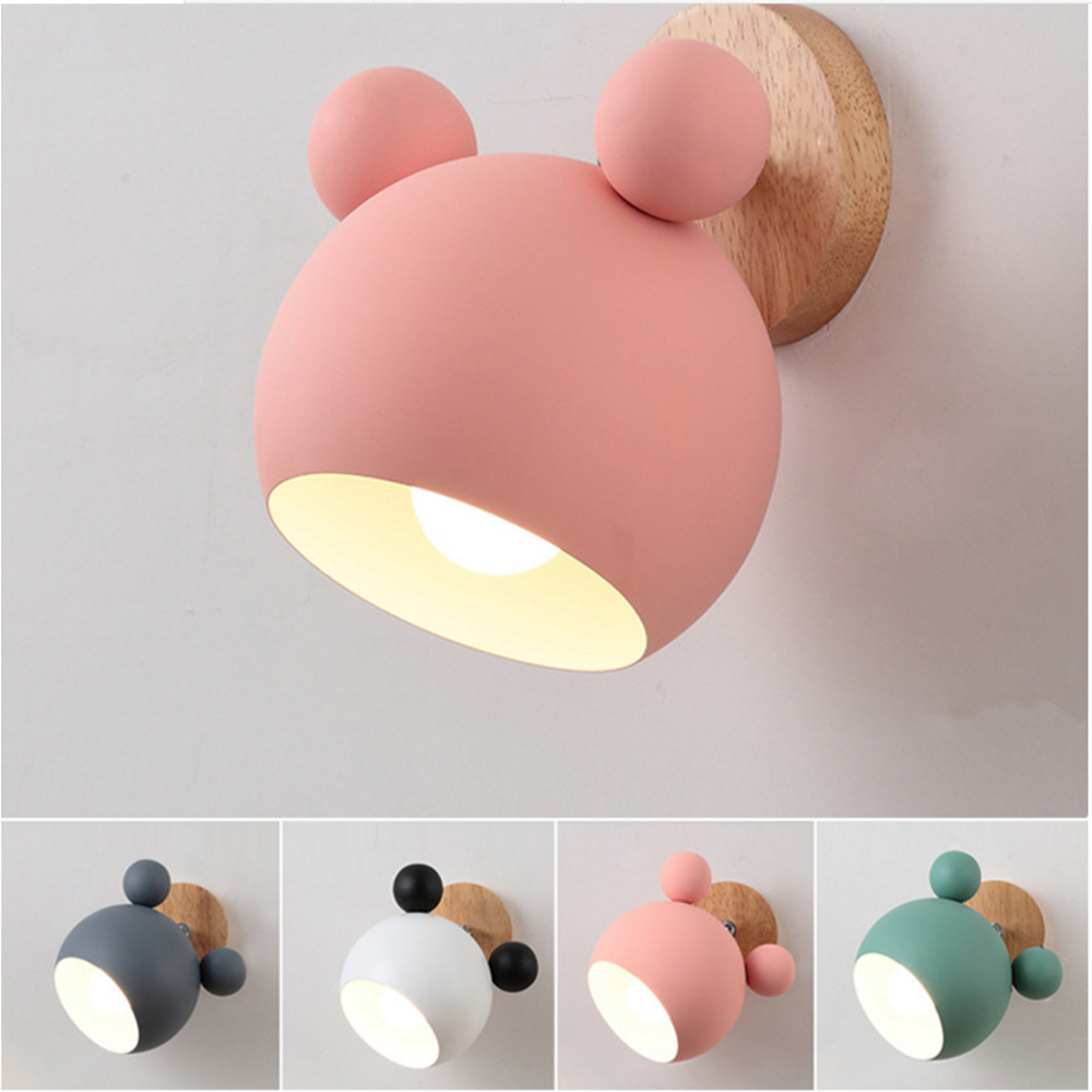 Nordic Mouse wood Wall Lamp For Children Living room Bedroom Stairs Cartoon Led Light Indoor Horse Design Wall mounted bedside