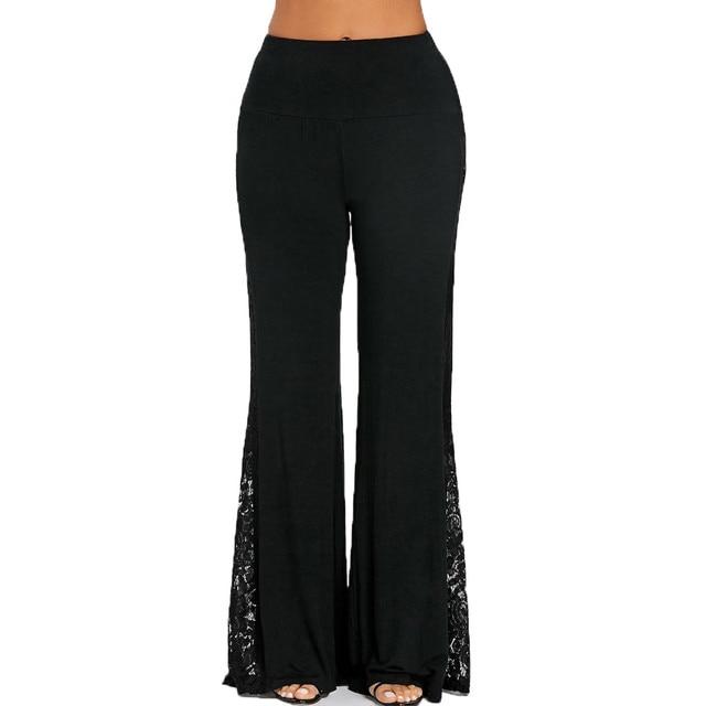 MUQGEW High Waist Lace Hollow Insert Wide Leg Pants Leggings Loose Trousers Women