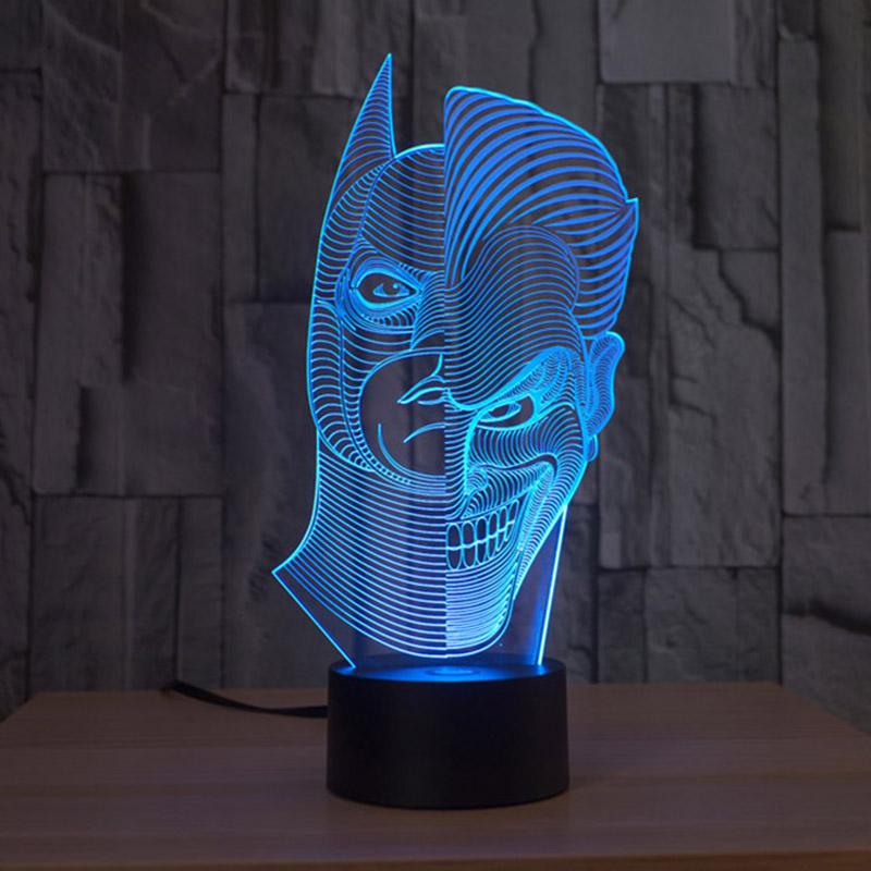 dos de la media cara de ilusin ptica d glow led luces lmpara escultura de arte