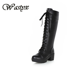 Wastyx New women boots Designer Womens Square Low Heel Riding Motorcycle Heel Knee High Boots Punk Gothic Platform Lace Up Shoes