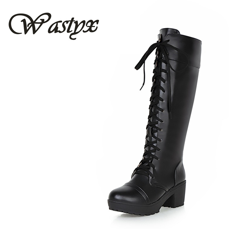 Wastyx New women boots Designer Womens Square Low Heel Riding Motorcycle Heel Knee High Boots Punk