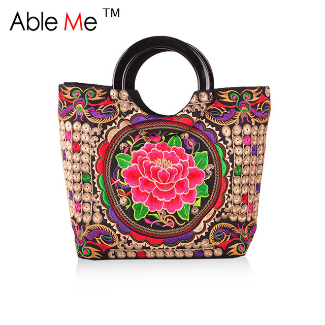 Nation Style Ethnic Embroidered Peony Flower And Plaid Printing Canvas Handbag Fashion Lady Tote Bag Embroidery Side Canvas Bag