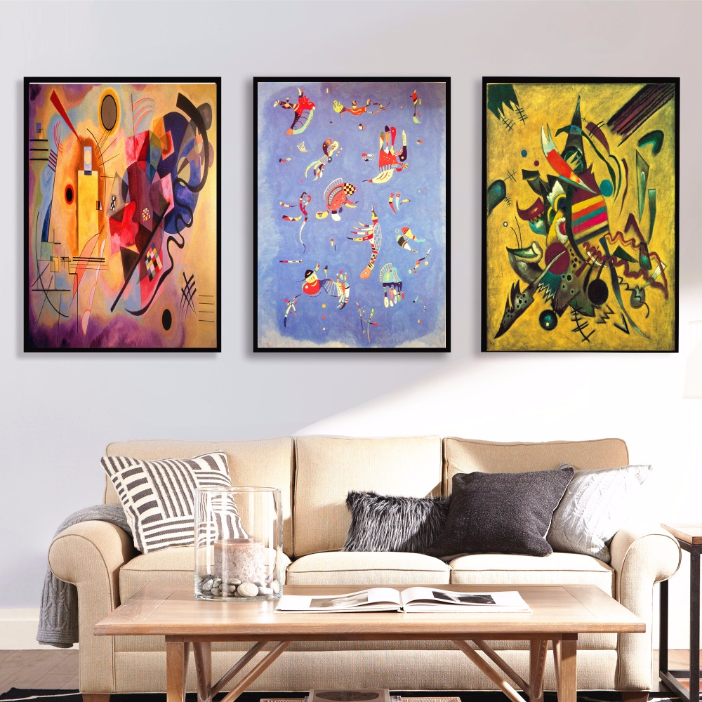 kandinsky animals abstract canvas art print painting poster wall pictures for living room home. Black Bedroom Furniture Sets. Home Design Ideas