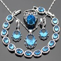 Light Blue Created Topaz Silver Color Jewelry Sets Necklace Pendant Bracelets Drop Earrings Rings For Women Free Gift Box