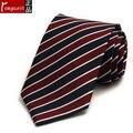 Romguest 2016 novo homem terno de negócio laços azul vermelho branco gravata listrada fio-tingido gravata de seda caixa de presente à prova d' água