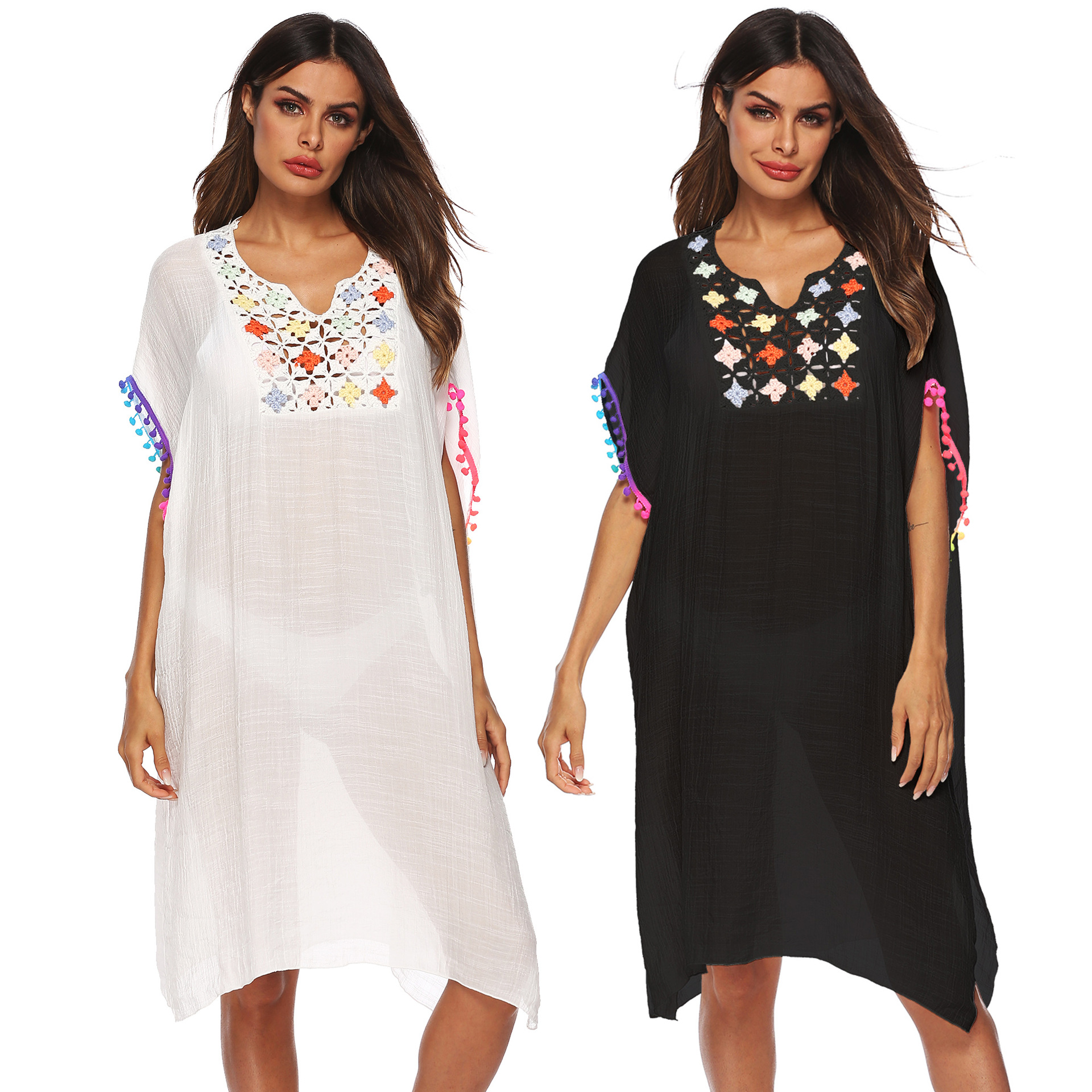 women loose dress summer holiday beach spring casual leisure tassel