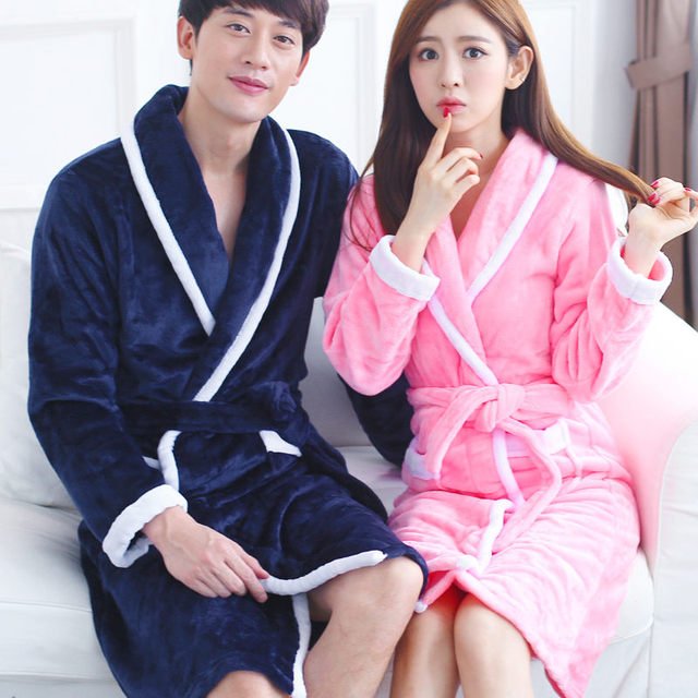 d93d042753 Autumn Winter Gowns Sleep Robe Women Thickening Cotton Flannel Pajamas  Couples Bathrobe Coral Sleece Sleepwear Lovers Bath Robes