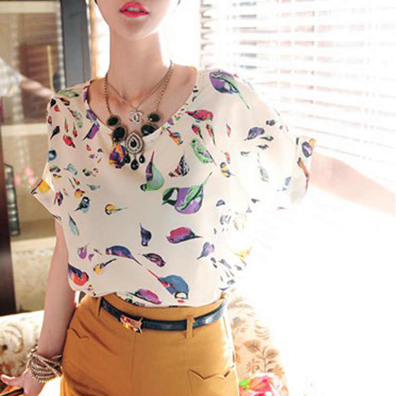Summer Print Female T Shirt O Neck Plaied Printed Women Tops Short Sleeve Female T-Shirts Batwing Loose Chiffon Shirt Feminino