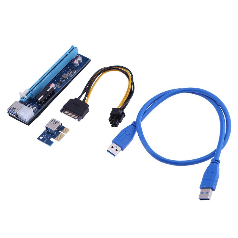 60cm USB 3.0 Extender Cable Riser USB 3.0 PCI-E Express 1x  Extender Riser Card Adapter 6PIN Power Cable for BTC LTC ETH Mining кабель orient c391 pci express video 2x4pin 6pin