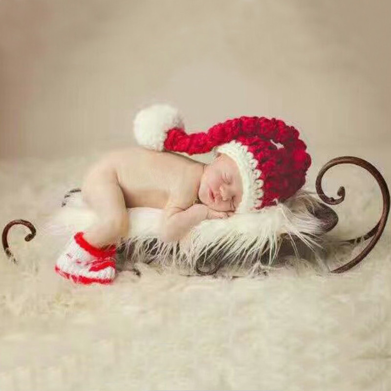 Newborn Photography Props	 Accessories Baby Christmas Hats+Shoes Set Baby Photo Props Children Christmas Hat Cap Infant Knitted