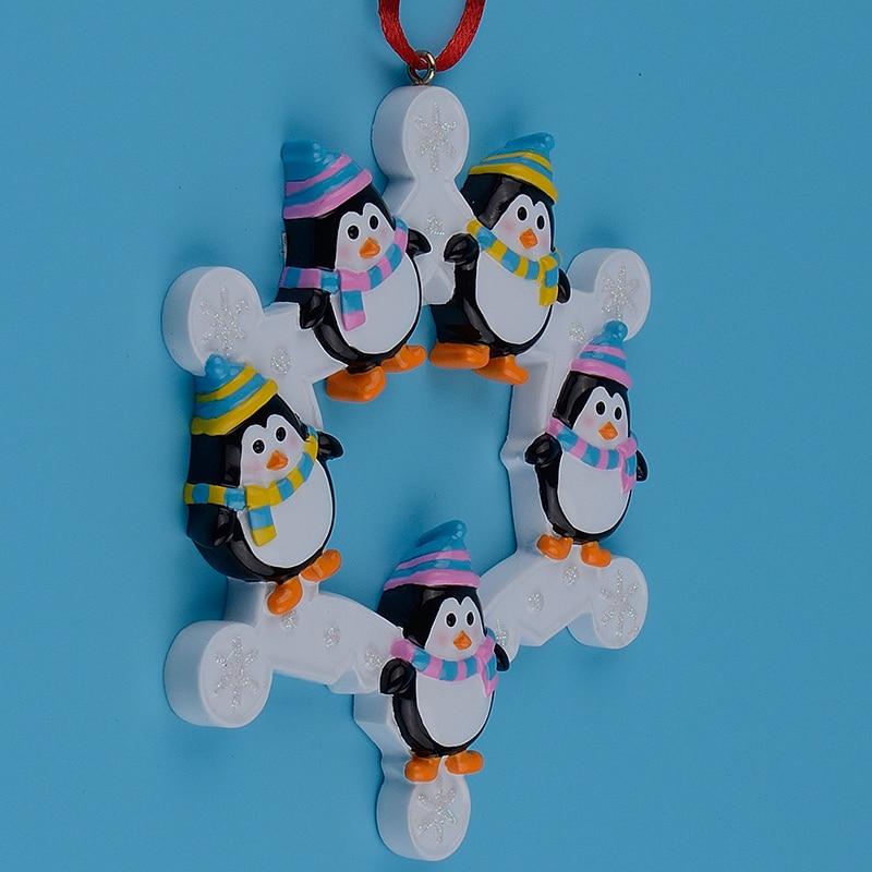 Familia de pingüinos de copos de nieve de 5 adornos de árbol de - Para fiestas y celebraciones - foto 4
