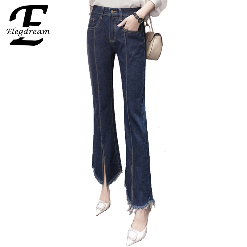Elegdream Plus Size Women Clothing S XL 5XL 8 Sizes Vintage Jeans 2017 Spring New Ladies Denim Pants Girl Casual Tassel Trousers