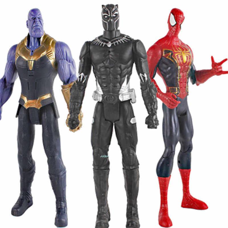 Мстители: завершающей супергероя танос Капитан Америка Железный человек Тор Халк с светодиодный свет пластиковая фигура Ящик для игрушек 30 см Z1630