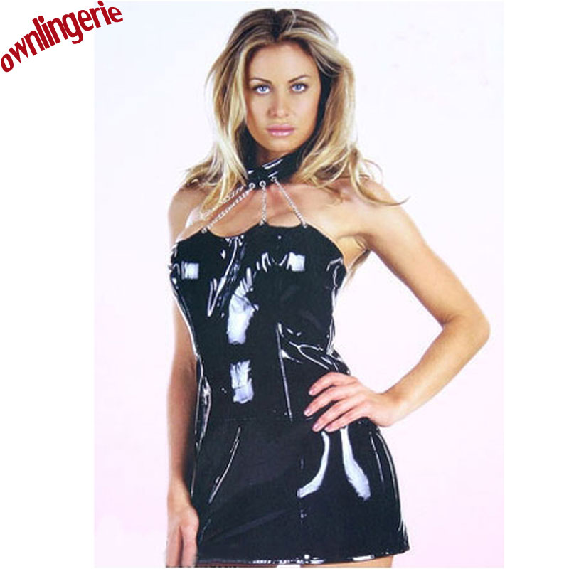 Buy 2017 sexy black dress, wetlook leather clubwear bustier dress ,with chain decoration halter pvc tube mini dress m7056