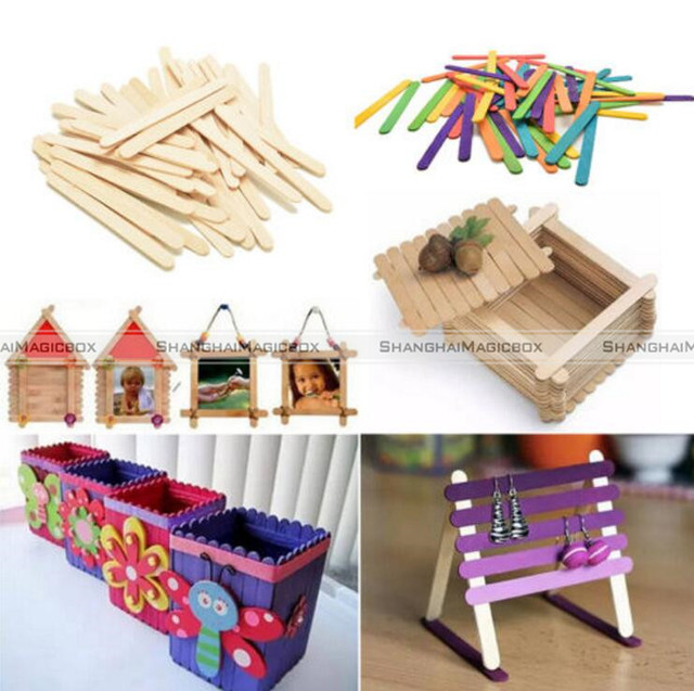 50PcsWooden Popsicle Stick Kids Hand Crafts Art Ice Cream Lolly Cake DIY Making Funny Lollipop