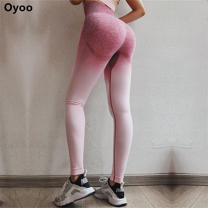 Oyoo frauen Hohe Taille Rosa Yoga Hosen Bauch-steuer Training Läuft 4 Way Stretch Sport Leggings Ombre Nahtlose Gym leggings