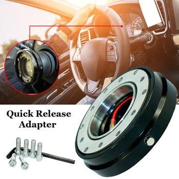 Krótki Quick Release Hub 1 5 cienka samochód KIEROWNICA Adapter 6 śruby Design czarny tanie i dobre opinie none 350g Billet Aluminum China