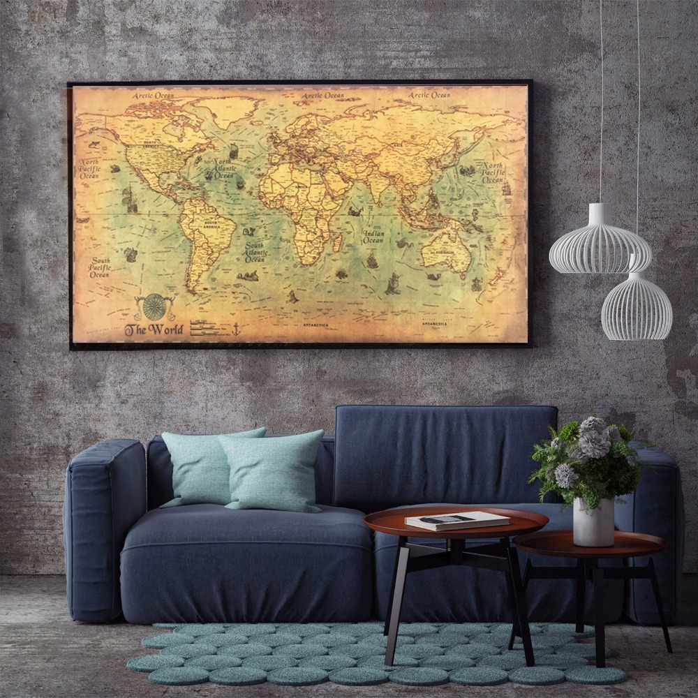 Large vintage 50x100cm world map kraft paper paint wall sticker poster living room art crafts for Large wall posters for living room