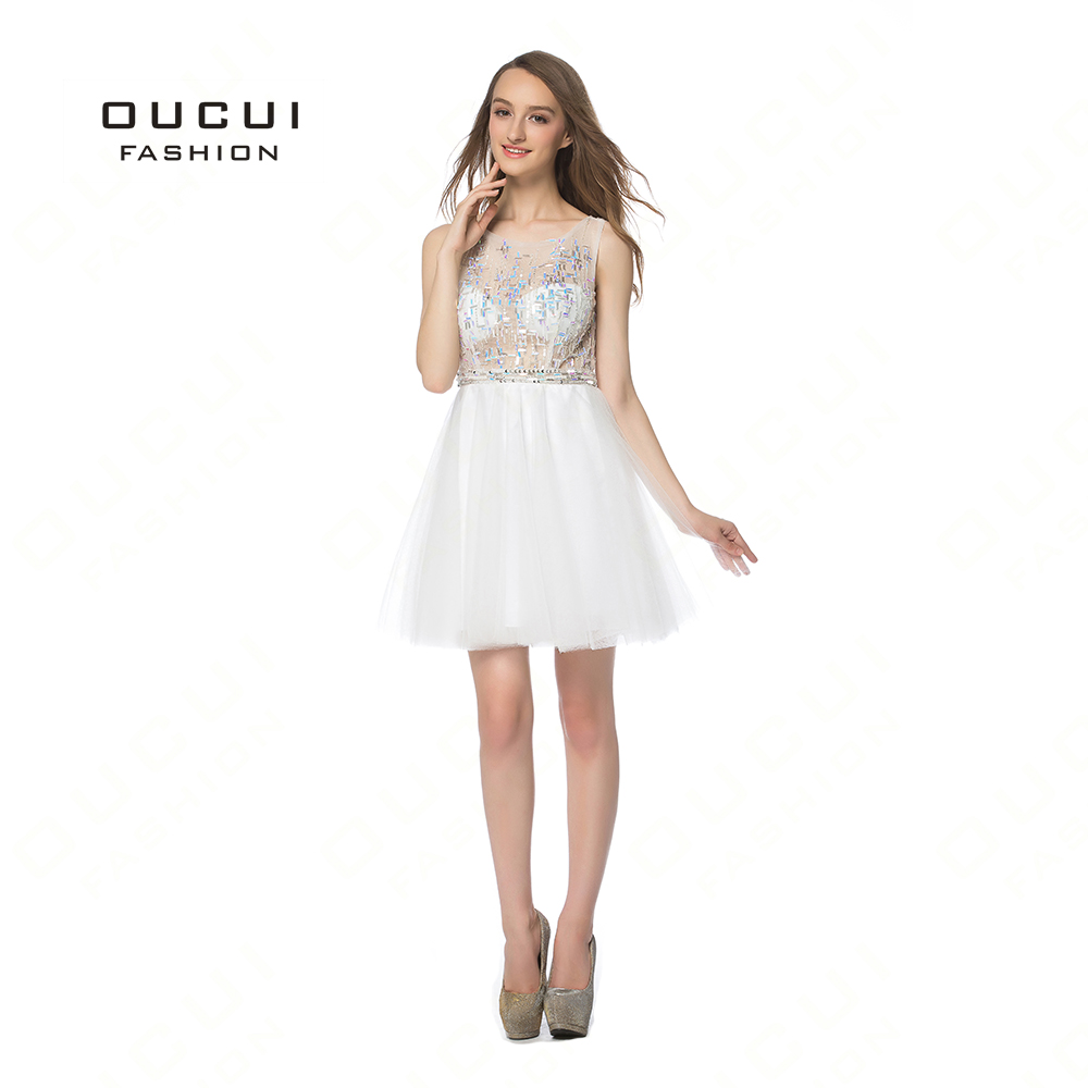 Real Photo Off White Tulle See Though Short Prom Dresses Graduation Party Dress Knee Length Evening Gown BL1825