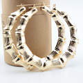 Big Bamboo Hoop Earrings Shiny Elegent Lover Lady Gifts Fashion Girls Ear Wedding Party Dress Gold Plated Women Love Jewelry