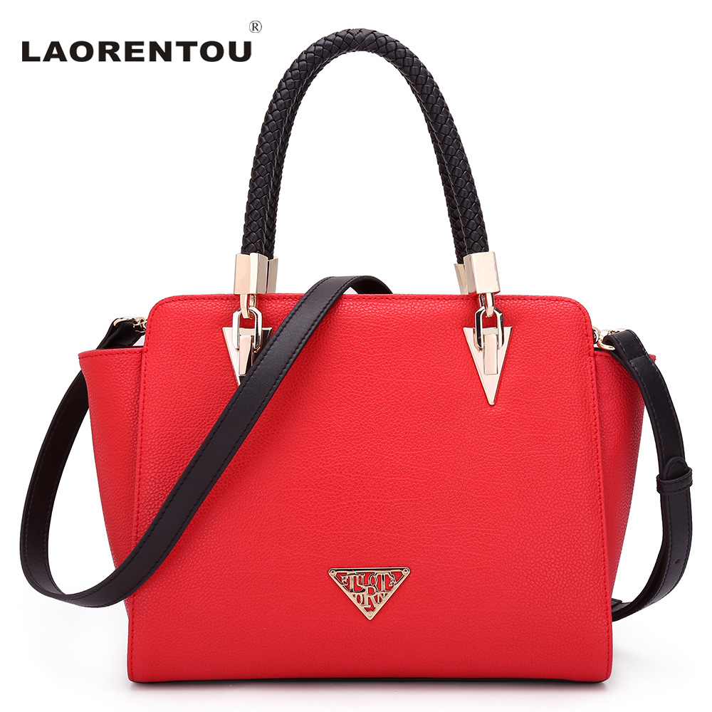 LAORENTOU Exclusive Design Trapeze Tote Bag Luxury Cowhide Leather Women Handbag Shoulder Bag Brand Crossbody Bag For Women