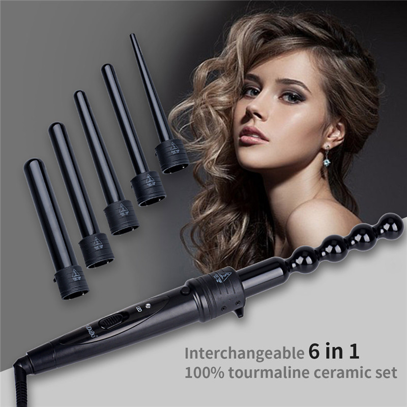 6-in-1 Interchangeable Tourmaline Ceramic hair curling curler wand roller set styling tool dry and wet beauty tool with glove 42 15 25mm ceramic bead hair curler roller 110 240v 60w hair curling irons professional ptc heating curl hair style tool with glove