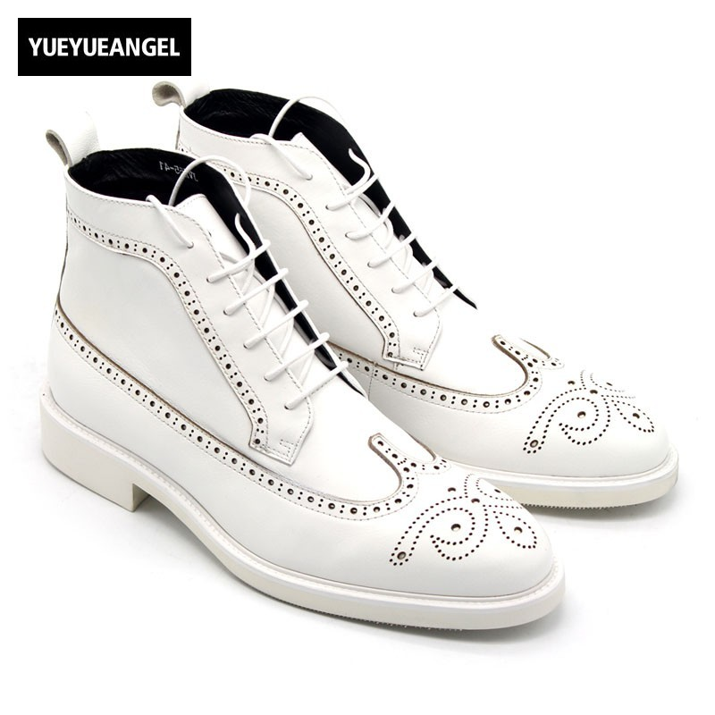 Classic Derby Shoes Men White Ankle Boots 2018 Designer Handmade Lace Up High Top Sneakers Genuine Leather Boots Men Plus Size цена 2017