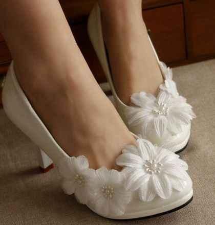 Flower Wedding Shoes Woman Low High Heel Custom Handmade Brides