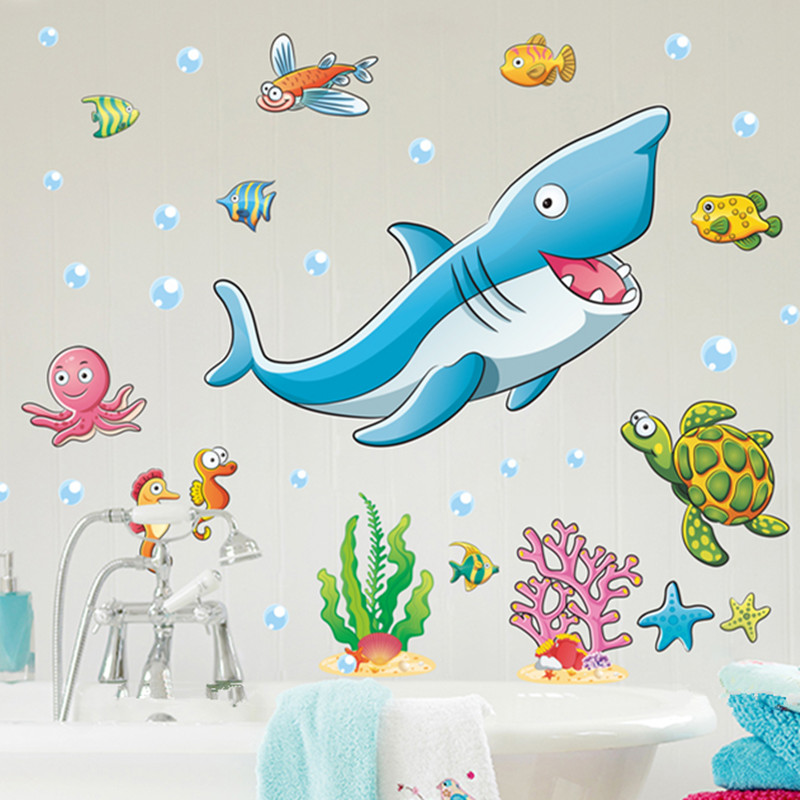 Buy ocean fish wall stickers for kids for Ocean decorations for home