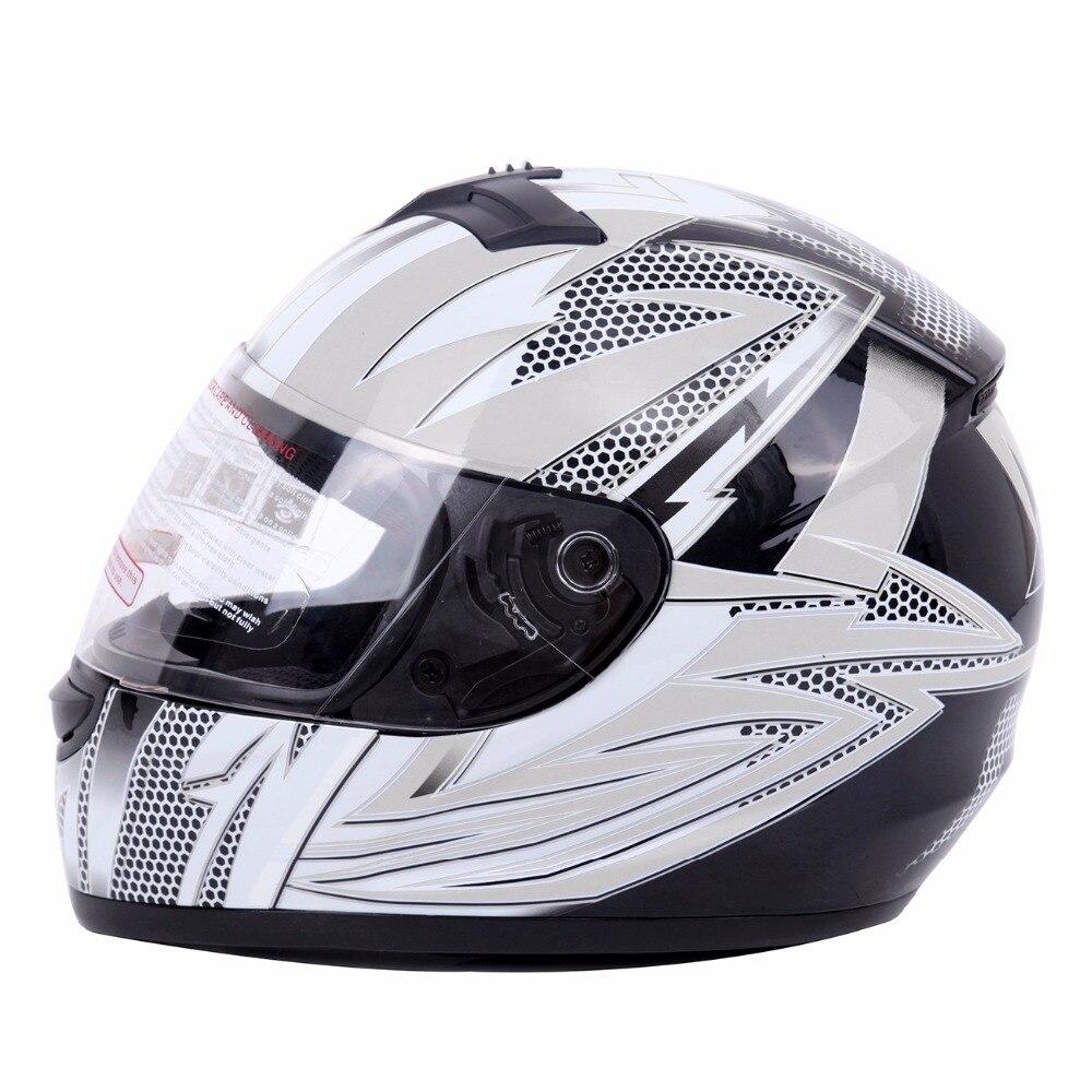 (Gratuite De NOUS) DOT Casque Adulte Casque de Moto Intégral Casque W/Flip-up Visière M L XL Taille Blanc