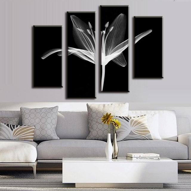 Modern 4 pcs set combined floral painting prints on canvas abstract black background white flower
