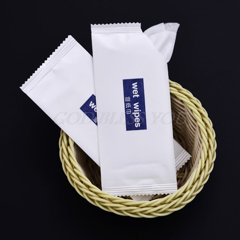 10PCS Disposable Non-Woven Wet Wipes Tissue Individually Wrapped Portable Hand