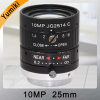 Yumiki HD 10MP CCTV Camera Lens 25mm F1.4 Aperture Mount C for CCTV Camera or Industrial Microscope road monitoring