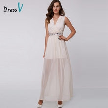 Dressv champagne A-line long evening dress V-neck beading sleeveless ankle-length evening dress formal party dress prom dress