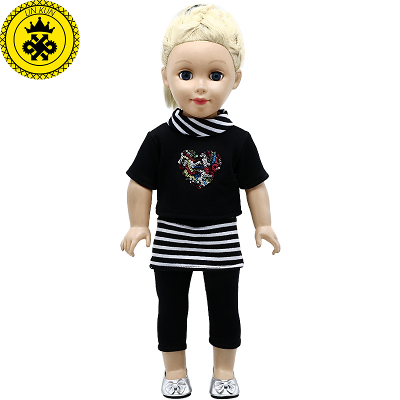 18 Inch  Girl Doll Clothes Black T-shirt + Black Trouser Suit For 18 Inch  Girl Doll Accessories 422