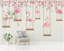 beibehang Premium papel de parede 3d wallpaper modern minimalist cartoon flamingo personality children room background