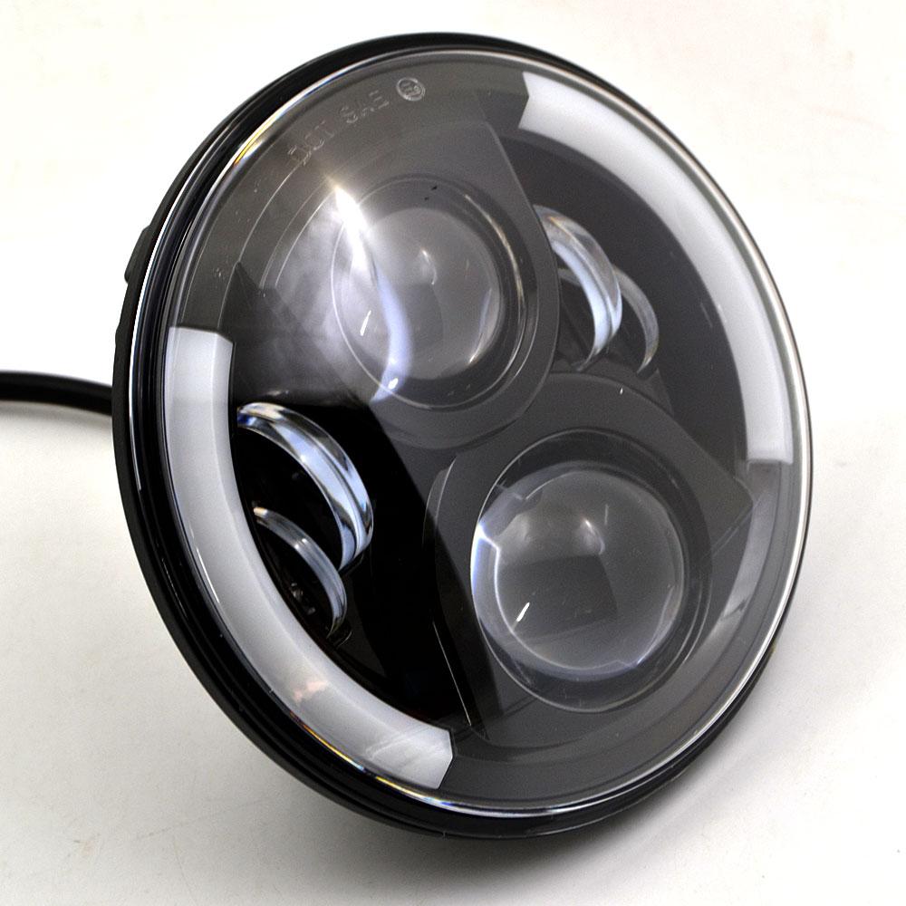 BJMOTO Universal 7 Led Motorcycle Headlight H4 H13 Phare Farol Moto Headlamp Head Light For Harley Softail Cafe Racer Chopper