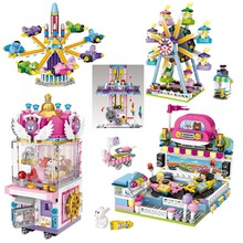 Amusement Park Pirate Ship Ferris Wheel UFO CATCHER Drop Zone Brick Building Blocks Toys For Kids Educational 3d Model Toy недорго, оригинальная цена