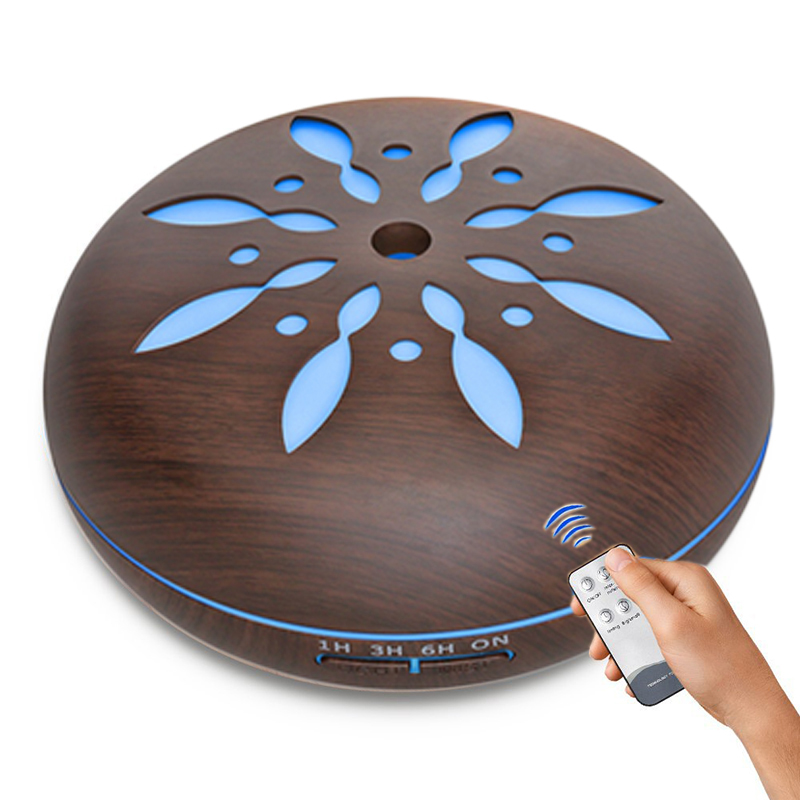 500ML Remote Control Essential Oil Aroma Diffuser With Wood Grain Aromatherapy Diffuser For Home Office Cool Mist Air Humidifier 550ml remote control air humidifier aroma essential oil diffuser wood grain ultrasonic cool mist humidifier for office home