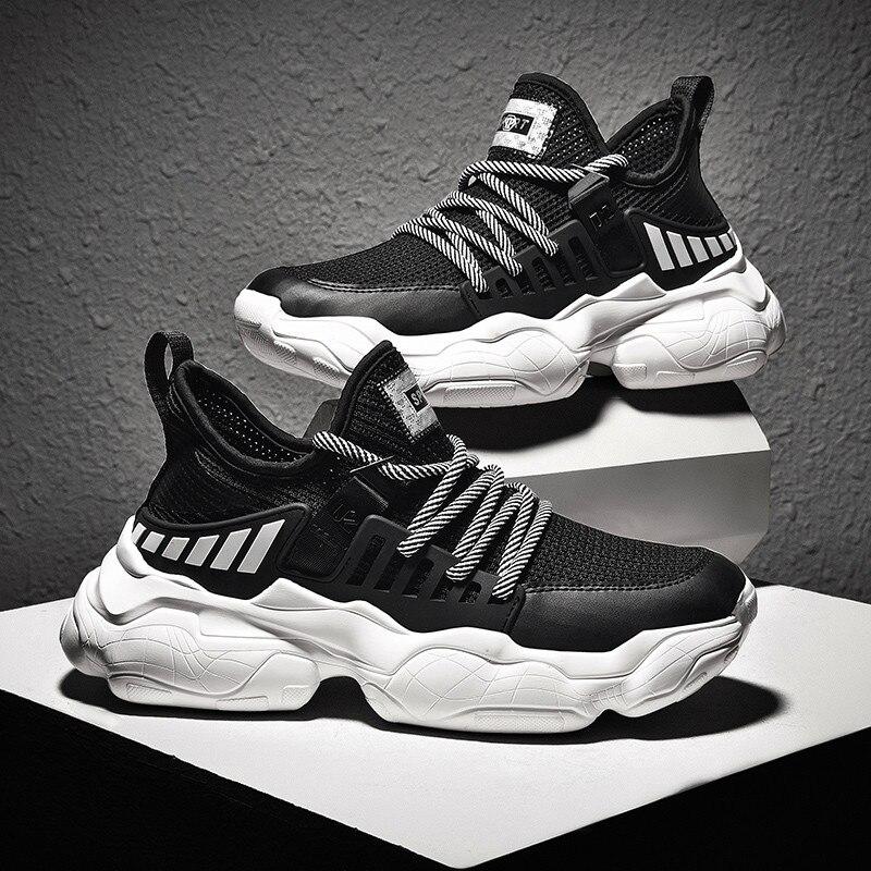 2019 Sapatos Casuais Homens Verão Homens Flats Sneakers Malha Respirável Tendência de Moda Ao Ar Livre Calçados Respirável Zapatillas 45 46 47