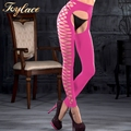 Opaque Pink Crotchless Women Pantyhose
